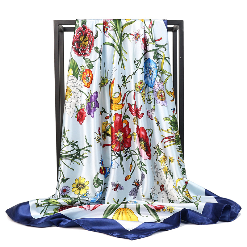 Fashion Silk Satin Hair Scarf For Women Floral Print Kerchief Hijab Scarfs 90*90cm Square Shawls Neck Scarves For Ladies Spring