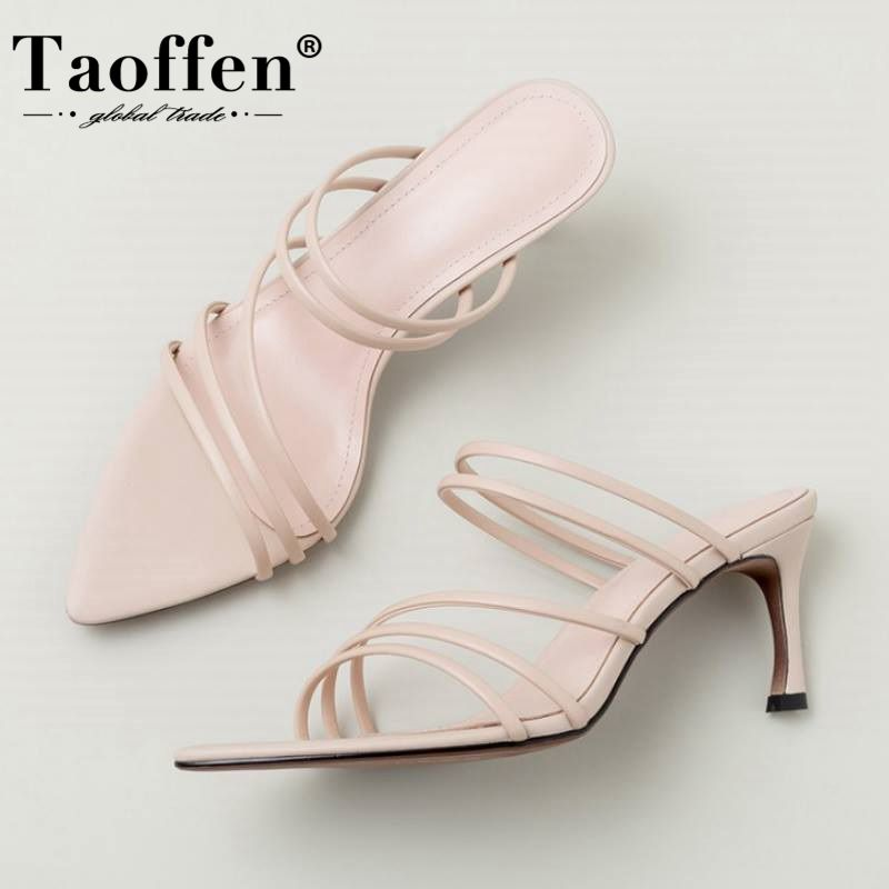 Taoffen Pointed Toe Sandals Thin High Heels Summer Women Shoes Fashion Slip On Party Casual Shoes Female Footwear Size 33-40