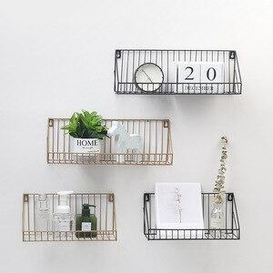 Декоративная стойка для хранения в гостиной, настенная вешалка из утюга, креативная настенная полка для дома, гостиной, кухни, ванной комнат...