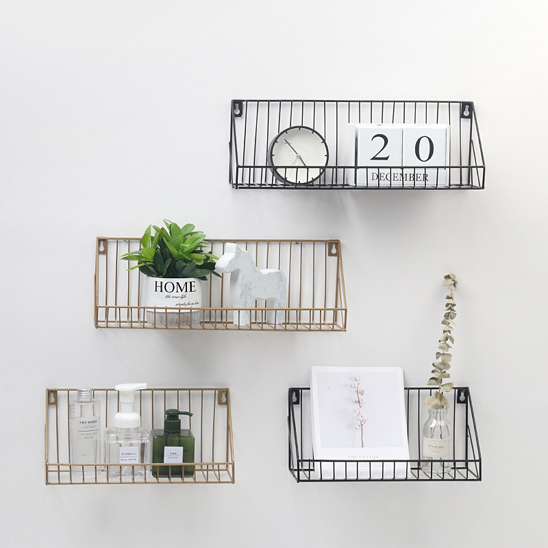 Living Room Storage Rack Decorative Rack Wind Iron Grid Wall Rack Creative Home Living Room Kitchen Bathroom Wall Storage Rack title=