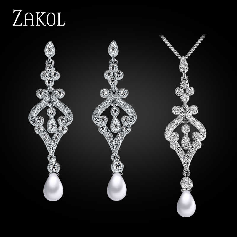 ZAKOL Trendy White Color Jewelry Set Imitation Pearl Water Drop Charms Ladies Jewelry For Party FSSP265