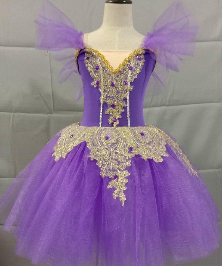 Étincelant longue ballerine robe enfant enfants Style romantique Ballet danse Costume pour femmes filles doux Tulle Tutu gymnastique justaucorps - 2