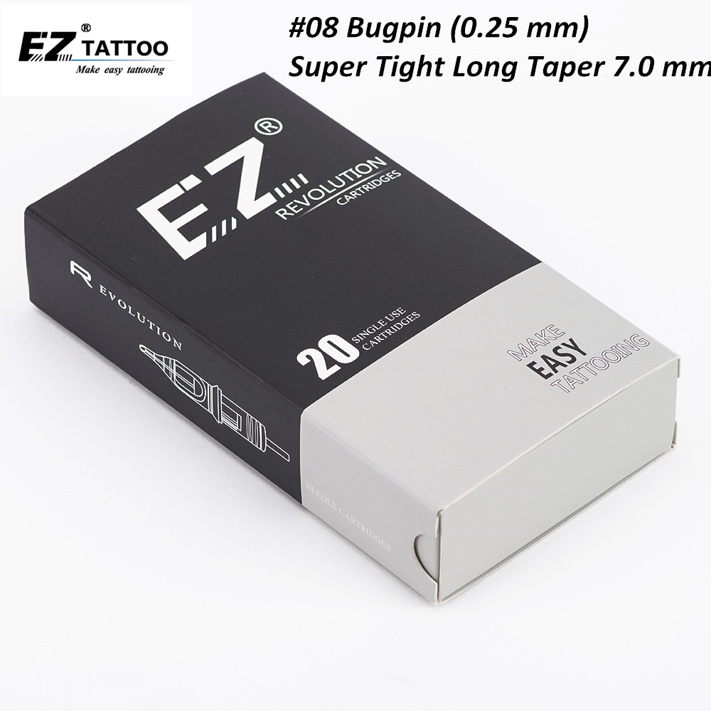 EZ Revolution Cartridge Needles #08 Bugpin (0.25 Mm) Round Liner Tattoo Needles 7.0 Mm Super Tight L- Taper 20PCS/Box