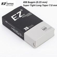 EZ agujas de cartucho Revolution #08 Bugpin (0,25mm), agujas de tatuaje con delineador redondo, 7,0mm, cono súper apretado, 20 unidades/caja