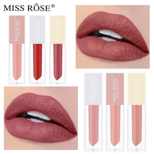 MiSS ROSE rouge à lèvres Kit transfrontalier mat brouillard Surface velours glaçure imperméable Non-marquage commerce extérieur brillant à lèvres