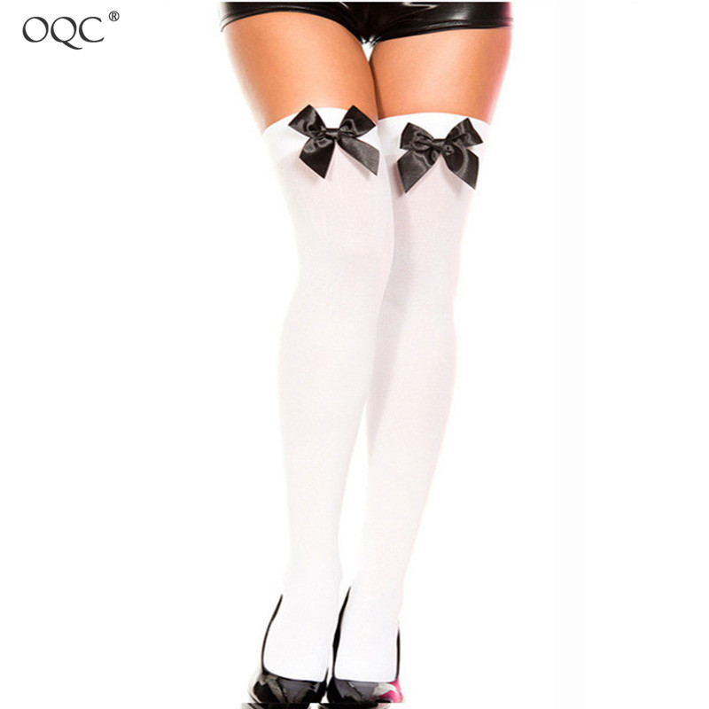 Thigh High Lady Bow Sexy Over The Knee Socks  Solid Color Women Sexy Stockings Thin Role Play Stockings Bowknot Lady Thighs D40