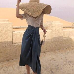 Image 2 - Twotwinstyle assimétrico do vintage lado divisão saias para o sexo feminino de cintura alta irregular ruched saia feminina moda 2020 roupas maré