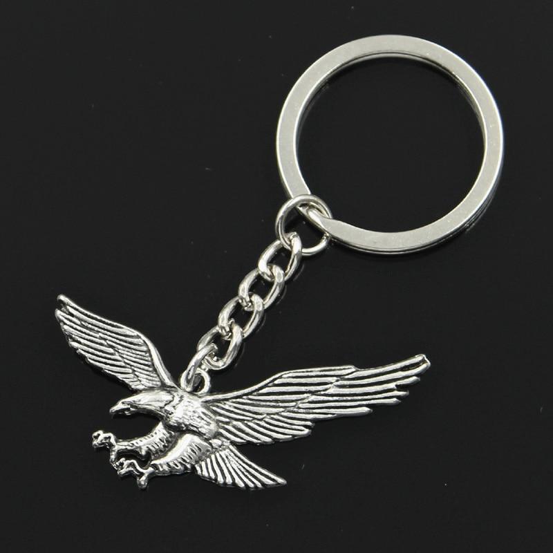 New Fashion Men 30mm Keychain DIY Metal Holder Chain Vintage Hawk Eagle 28x50mm Silver Pendant Gift