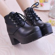 New Martin boots Women Platform Shoes lace up Pu leater shoes White Black Women Chunky Heels