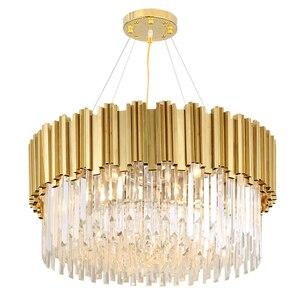 Image 3 - Oturma odası lüks altın Metal Led kolye ışıkları yuvarlak Luminarias ayarlanabilir asılı lamba Led iç mekan aydınlatması Lamparas fikstür
