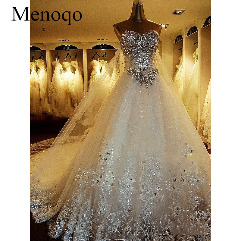 Romantic Wedding Dress Princess Bride Dress Strapless Floor-Length Diamond Lace Wedding Dresses Vestido De Novia 9248W