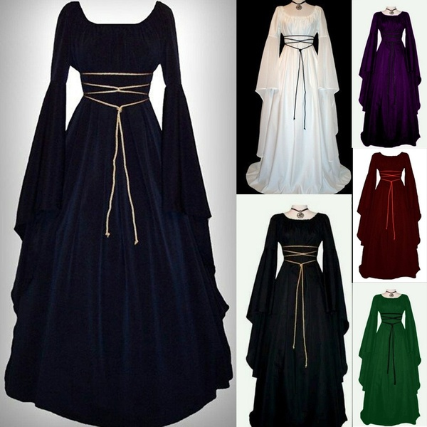 High Quality 2019 Ashion Vintage Style Women Medieval Dress Gothic Dress Floor Length Women Cosplay Dress Retro Long Gown Dress