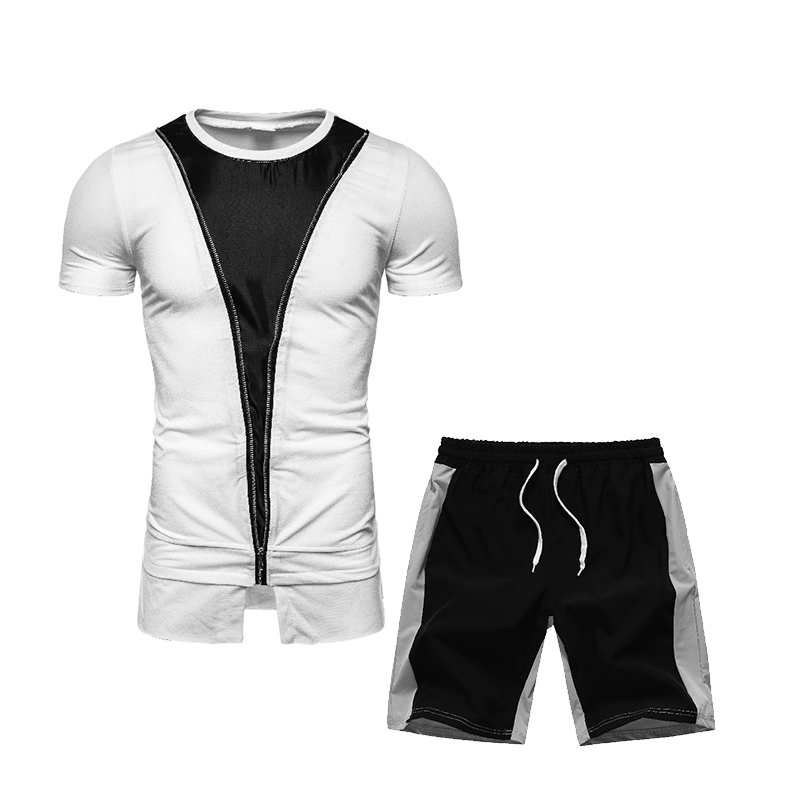 New Summer Men T Shirts+Shorts Set Sportswear Fashion 2020 Mens Clothing Black White Casual Tracksuits Male Track Suit Plus Size
