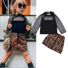 2PCS New Fashion Kids Baby Girls Lace Polka Dot Mesh Gown Top T-shirt+Leopard Print Short Skirt Two-piece Sets Outfit 24M-6T girls geometric print top with solid skirt