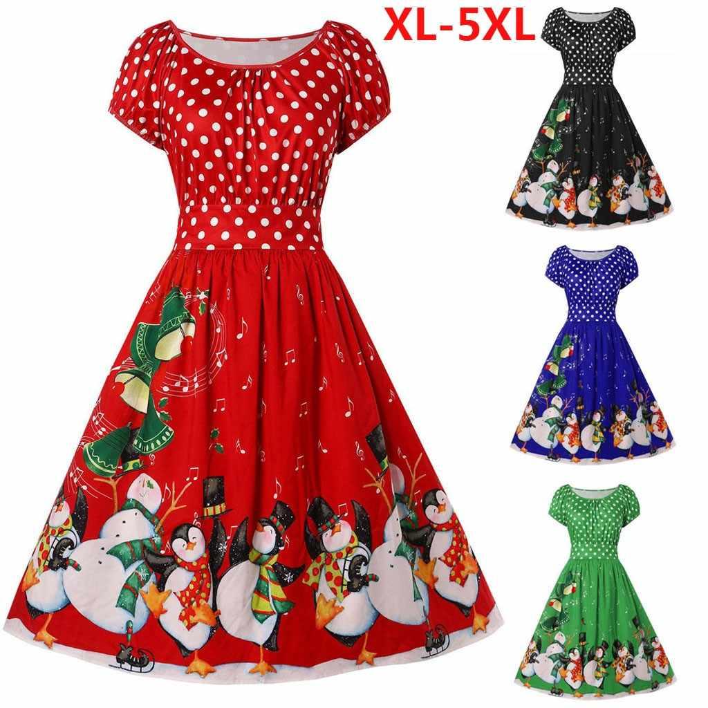 ファッションドレス女性ヴィンテージプラスサイズのドットプリントサンドレスファッション女性クリスマススタイル O ネックパーティー休日のドレス Vestidos
