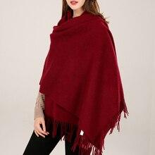 Women Red 100% Real Wool Shawl Scarf Winter Echarpe 2019 Pashmina Wraps Tassel Warm Foulard Solid Pure Poncho Blanket
