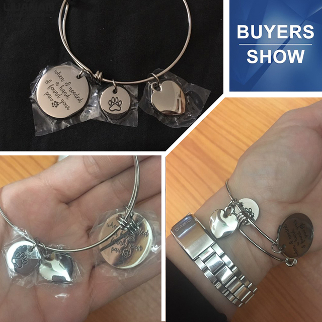 Pulsera de abalorios de acero inoxidable con forma de pata de corazón de cristal citas inspiradoras brazaletes de alambre joyería de moda de mujer regalo perro amante de los gatos