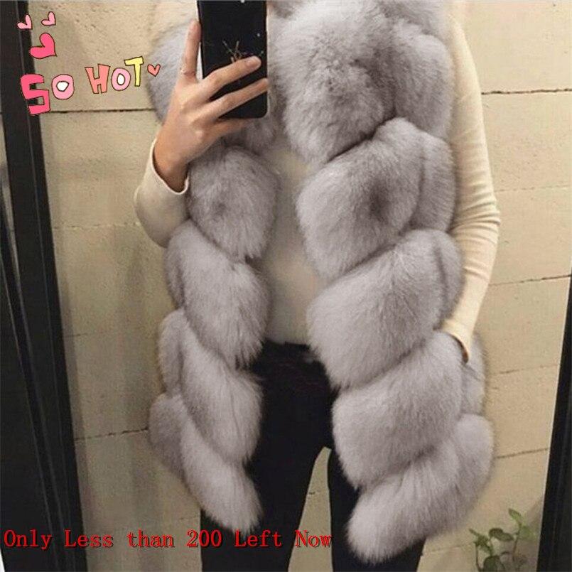LEDEDAZ Fashion Long Ladies Imported Faux Fox Fur Vest Top 2019 Plus Size Women Faux Fur Coat Warm Winter Fake Fur Jacket Coat