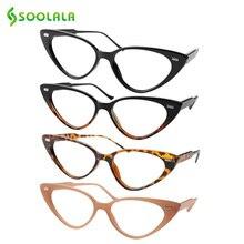 SOOLALA kedi göz okuma gözlüğü kadınlar Lesebrille presbiyopik okuma gözlüğü gözetleme camı için 1.0 1.25 1.5 1.75 4.0 gözlük diyopt