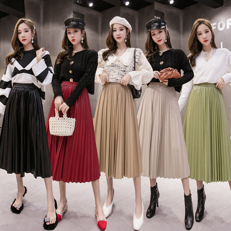 Fashion PU Leather Pleated Midi Skirt Women 2019 Autumn Winter Casual Maxi Skirt Elastic High Waist All-match Female's Bottoms