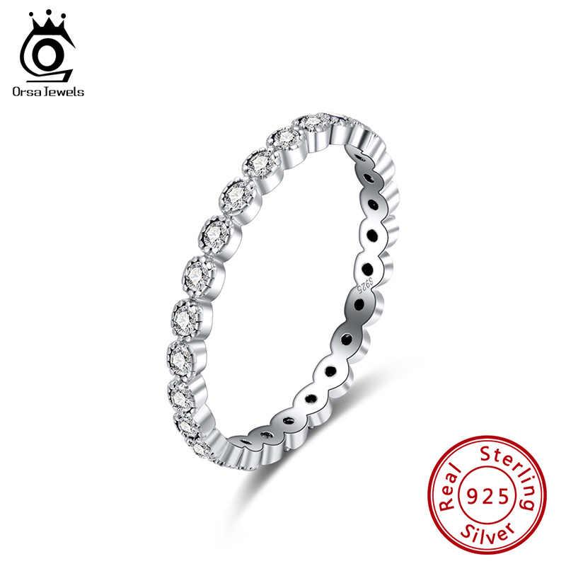 เครื่องประดับ ORSA ของแท้ 925 เงินซ้อนแหวนวงกลม AAAA Zircon แหวนแหวนนิ้วมือเครื่องประดับหมั้นแต่งงาน SR145