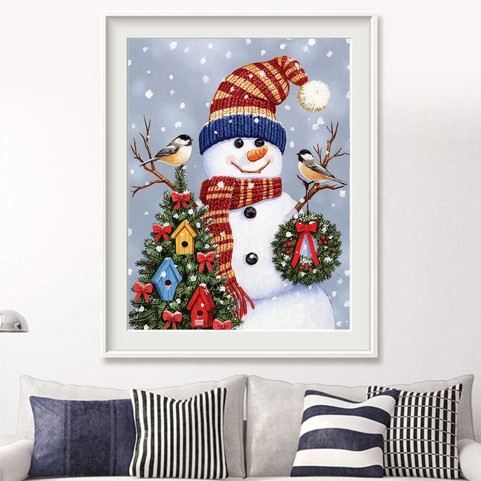 Azqsd Coloring By Numbers Diy Christmas Snowman Canvas Painting Kits Living Room Home Decor Paint Number Scenery Wall Art Aliexpress