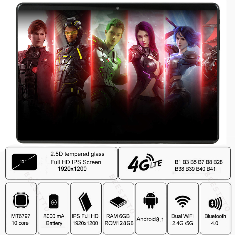 Tablets 6GB 128GB Android 9.0 Tablet 10.1 Inch IPS Super Tempered Glass Phone Call 3G 4G Tablet Octa Core Dual SIM Card WiFi GPS