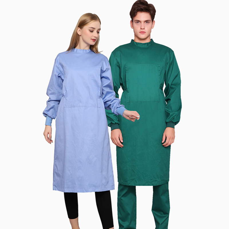Pure Cotton Surgery Scrubs Lace-up On The Back Solid Color Surgical Gown Women Men Medical Clothing