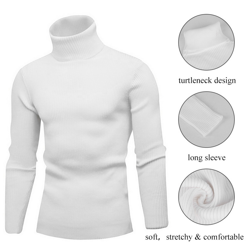 OnIn Fashion Mens Casual High Neck Soft Stretch Knit Solid Pullover Sweaters