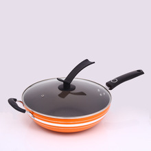 Wok without oil smoke pot non-stick stainless steel wok household iron pan flat bottom frying pan stylish kitchen no oil smoke non stick frying pan frying pan soup pot aluminum compound bottom set gift pot