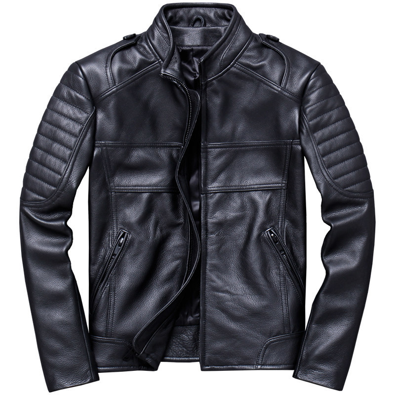 2020 Black Men Stand Collar Motorcycle Leather Jacket Plus Size XXXL Genuine Cowhide Slim Fit Short Biker's Coat FREE SHIPPING