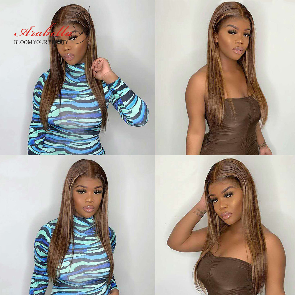 Blonde Streaks 13x4  Wigs With Baby Hair Lace Front Wig Body Wave  Highlight Straight Lace Frontal Wig 5