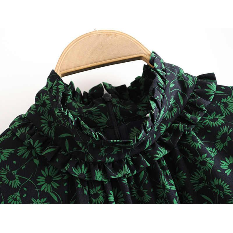 Elina drapeado impreso Mini Vestidos Mujer moda pradera Chic cuello redondo Vestido Mujer elegante manga larga Vestidos Mujer anuncio