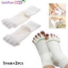 1Pair Five-toed Socks, Ladies'split-toed Socks, Indoor Massage Of Toe Socks, Sleep Foot Care Massage Socks, Ladies And Men