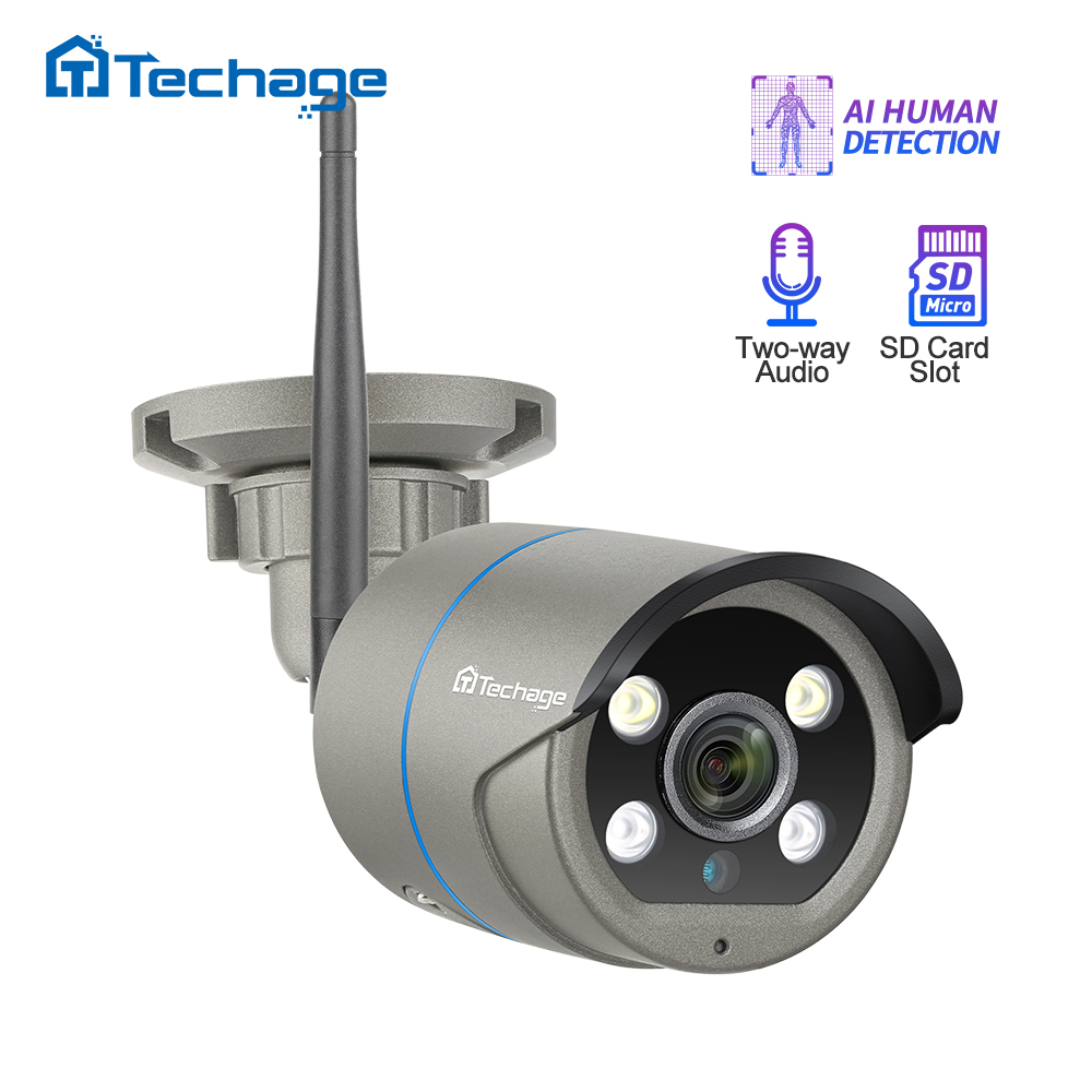 Techage 1080P 2MP Wireless AI Camera Two Way Audio Security Wifi IP Camera IR Outdoor P2P Onvif TF Card CCTV Video Surveillance