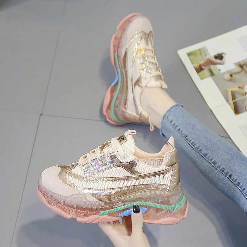 Tıknaz Sneakers kadınlar yaz vulkanize kadın moda Sneakers Lace sepeti Femme baba platformu nefes örgü Sneakers kadınlar için