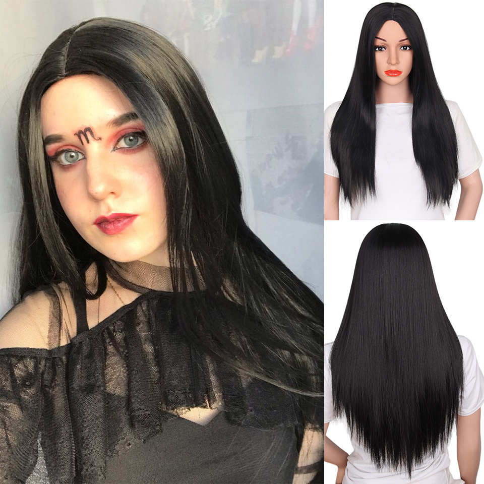 longa peruca reta peruca sintética parte do