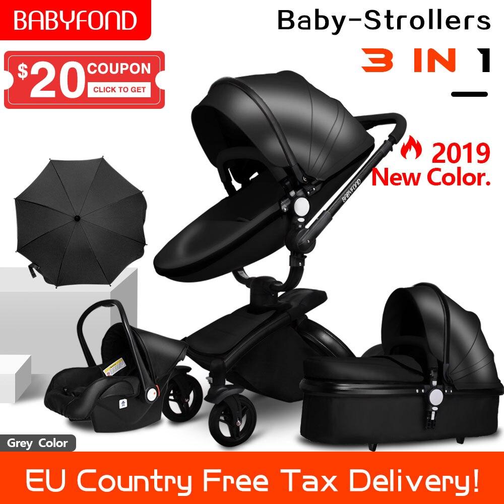 Transporte rápido! Carrinho de bebê dobrável two-way push 3 em 1 luxo alta paisagem carrinho de bebê com assento de carro 6 pcs brindes