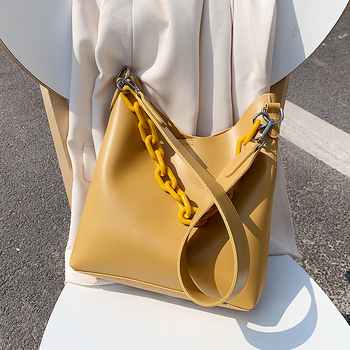 Solid Color PU Leather Bucket Bags For Women 2020 Small Chain Design Shoulder Messenger Crossbody Handbags Female Travel Bag