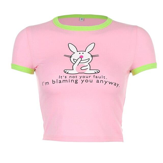 HEYounGIRL lapin imprimé décontracté coton femmes mode coréen rose haut court t-shirt de base dames Streetwear été