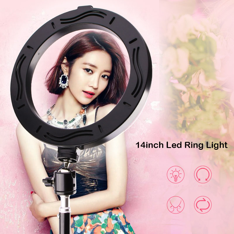 Photography LED Selfie Ring Light 14inch 3200-5600K Dimmable Lighting for Youtube Video Light with 1 6m Tripod Phone Holders