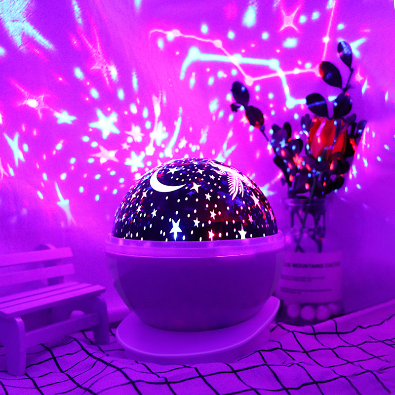 LED Star Projection Night Light Rotating Stars Moon Colorful USB Lamp Starlight Lights For Holiday Gift