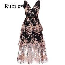 Rubilove 2019 New arrive V neck black flower dress mesh embroidered slim haute custom cake skirt