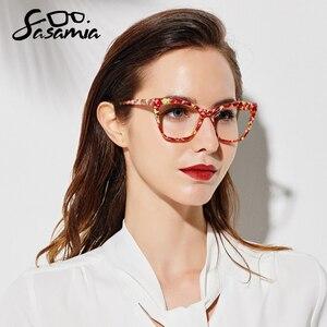 Image 2 - Sasamia 猫メガネフレーム女性眼鏡クリア処方眼鏡光学フレームアセテート近視メガネ女性眼鏡