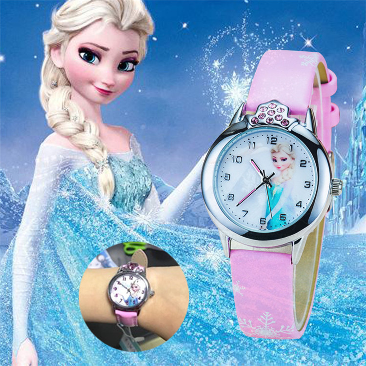 2019 New Cartoon Children' Watch Cute Princess Elsa Crystal Wristwatch Fashion Girls Kids Leather Quarts Watches