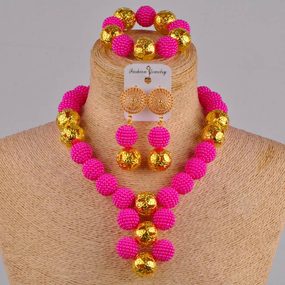 fuchsia pink costume necklace african jewelry set simulated pearl nigerian wedding beads FZZ30
