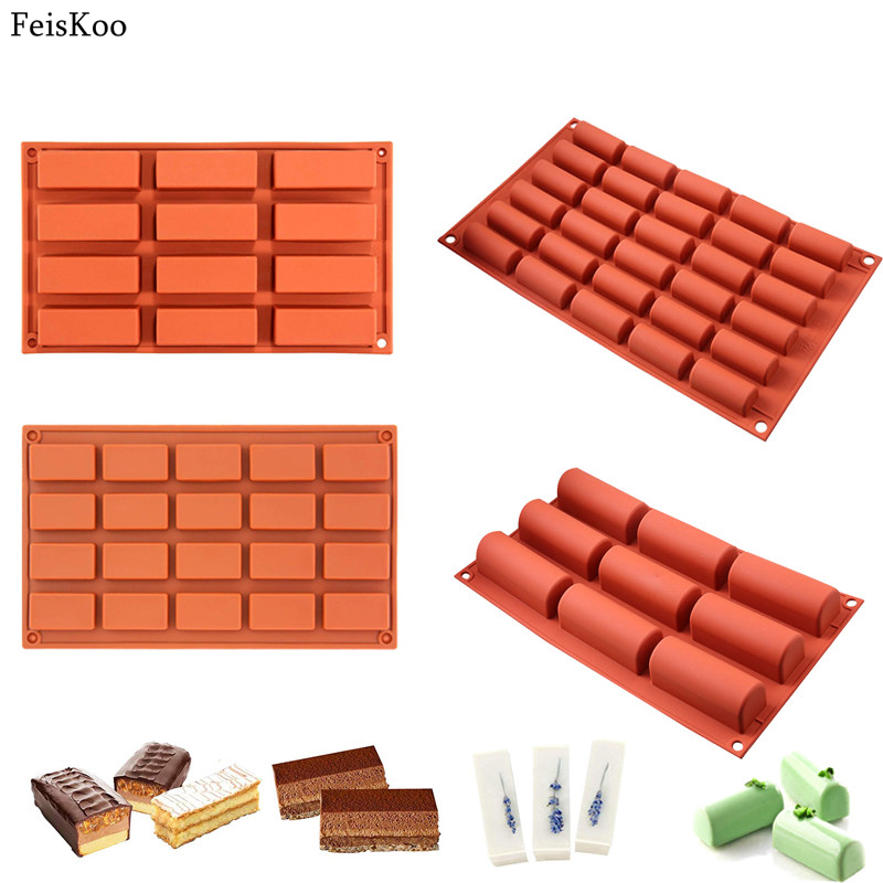 Hot Rectangle Shapes Silicone Cake Mold fondant Chocolate Mold Soap Mould Biscuit Cookie Baking Pan Kitchen Bakeware Accessories
