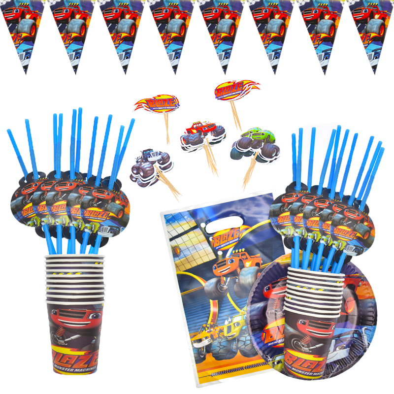 Blaze And The Monster Machines Car Theme Party Decoration Tableware Paper Cup Plate Banner Gift Bag Kids Birthday Party Supplies