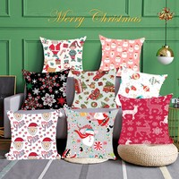 Christmas floral Print Pillow Case cotton linen Flax Soft Cushion Cover Decor Office 45X45m quality print technology Square