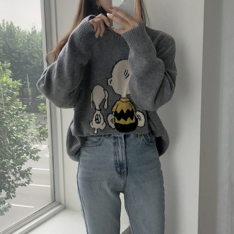 4 Colors Korean Preppy Style Autumn And Winter Cartoon Knitted Sweater And Pullovers Womens  (BC6969)